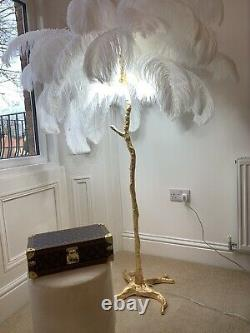 White Ostrich Feather Designer Standing Lanp Gold Base Ready To Ship Harrods