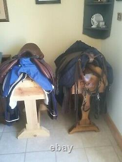 Wood Saddle Stand Mahogany Stain / FREE SHIPPING